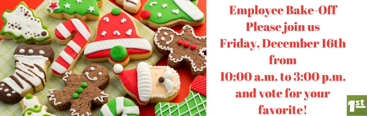 image Christmas cookies with a note that says Employee Banke-off Please joing us Friday, December, 16th, fomr 10am to 3pm and vote for your favorite