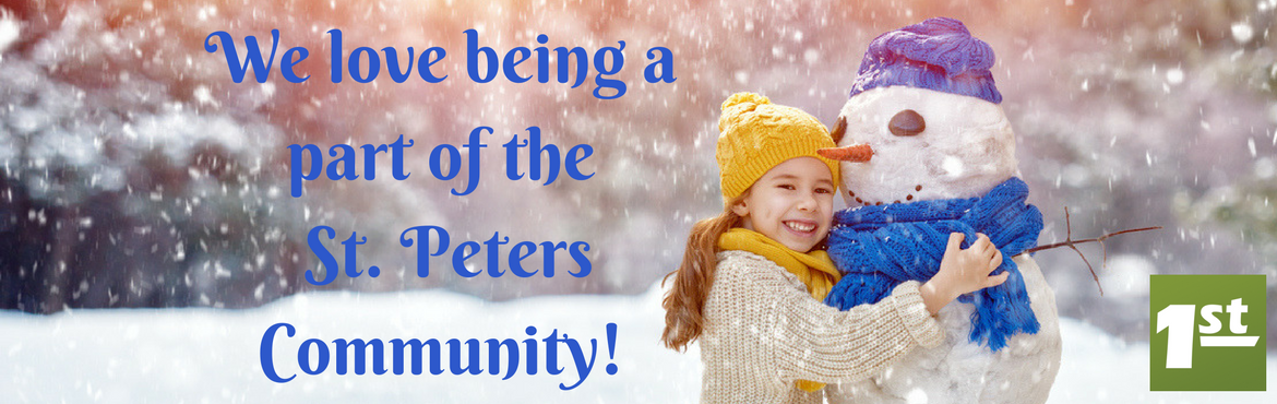 image of a little girth with a snowman and it is snowing. the message says We love being a part of the St. PEters Community!