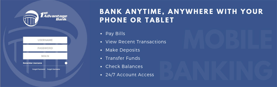 phones with speach bubbles that say Pay Bills, Transfer Funds, Check Multiple Accounts, 27/7 Account Access, View Recent Transactions, Check Balances, Cancel Scheduled Payments